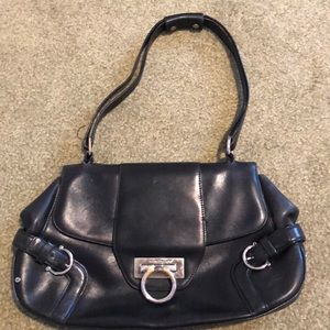Ferragamo Gancini Leather Black Purse